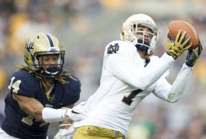 Notre Dame wide receiver Will Fuller hauls in one of his three touchdown catches Saturday against Pitt's Avonte Maddox(14) at Heinz Field.