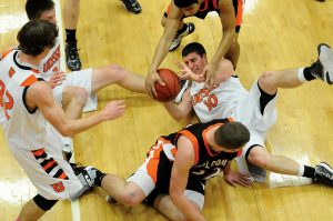 Becky Malewitz/Telegram Ulysses Alec Meirhoff struggles to gain control of the ball durning the first half.