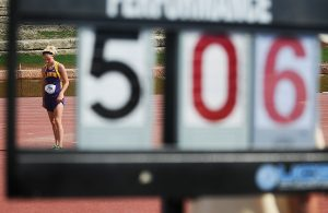 Becky Malewitz/Telegram Lakin's Kaylee Line gets ready to attempt her final jump in the Class 3A high jump Friday afternoon during the state track meet in the campus of Wichita State University. Line placed second in the event.